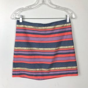 J.Cree Stripped colorful Mini Skirt